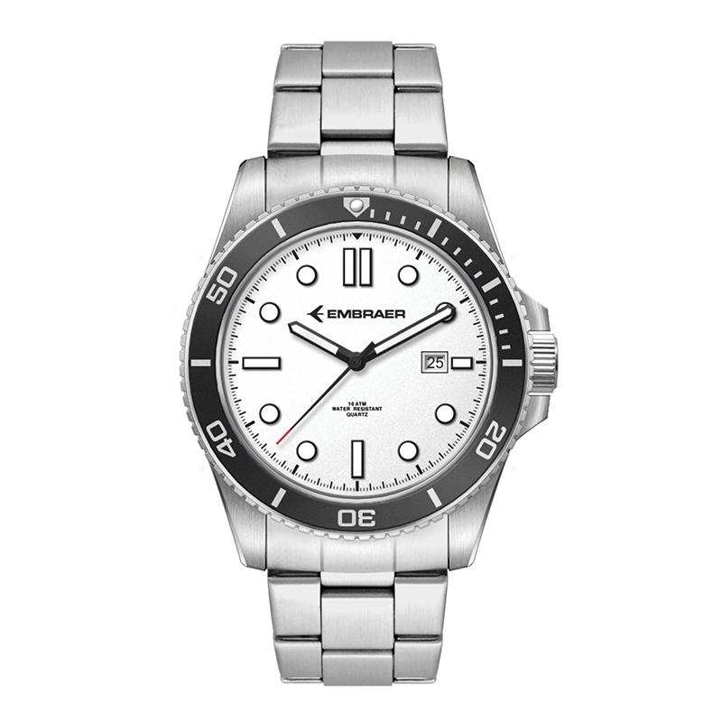 3 Hand MVMT, White Dial, Black Rotating Bezel Custom Watch