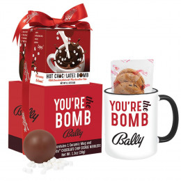 Custom Mrs. Fields Mug & Cookies with Hot Chocolate Bomb Gift Set