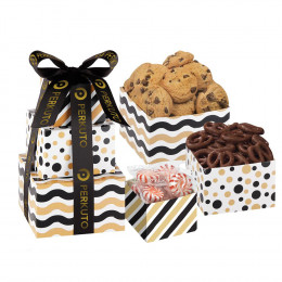 Cookies, Pretzels and Mints Classic Corporate Treat Tower