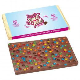 1 lb Belgian Chocolate Bar with Mini M&M's® Topping and Custom Wrapper
