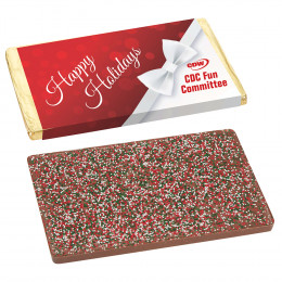 1 lb Belgian Chocolate Bar with Holiday Sprinkles and Custom Wrapper