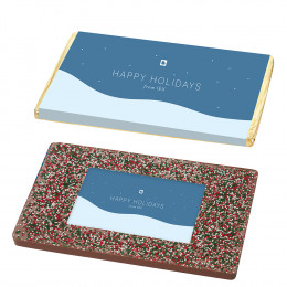 1 lb Belgian Chocolate Bar with Holiday Sprinkles and Custom Logo Centerpiece