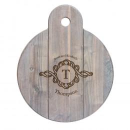 Personalized Walnut Whitewashed Round Cheese Board