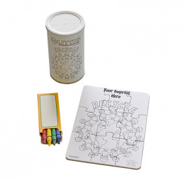 Custom 9 Piece Small Coloring Puzzle with Crayons in Can 12 oz.