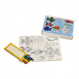 Custom 9 Piece Small Coloring Puzzle with Crayons in Box