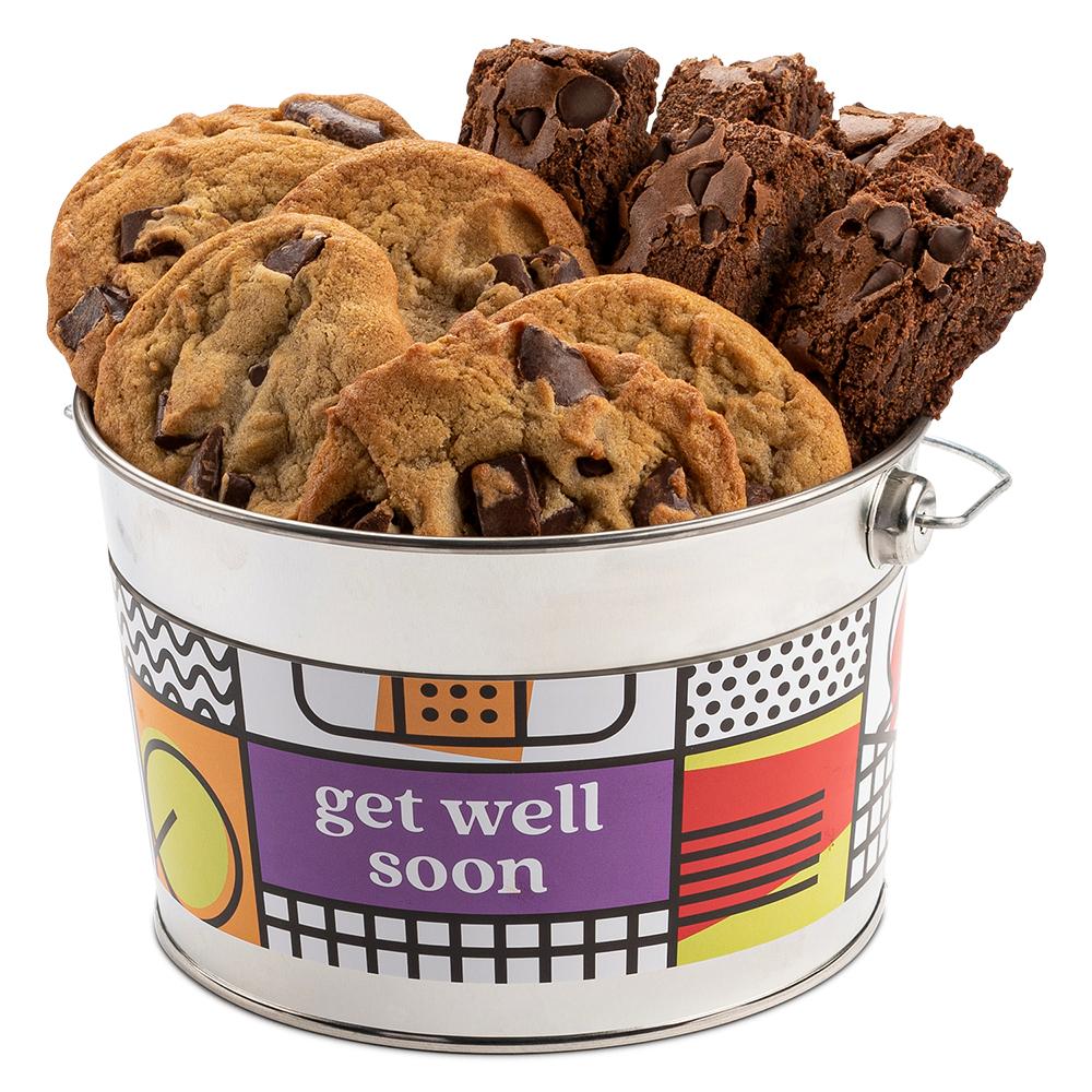 David's Cookies Chocolate Chip Cookie and Brownie Sampler Get Well Soon Bucket
