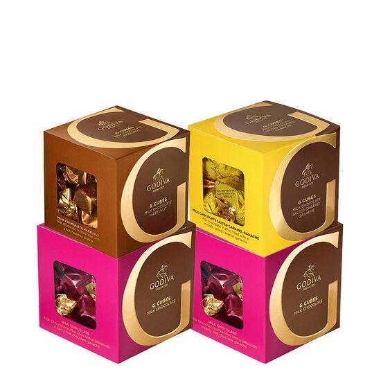 Godiva Milk Chocolate G Cube Sampler, Set of 4, 22 pcs. each