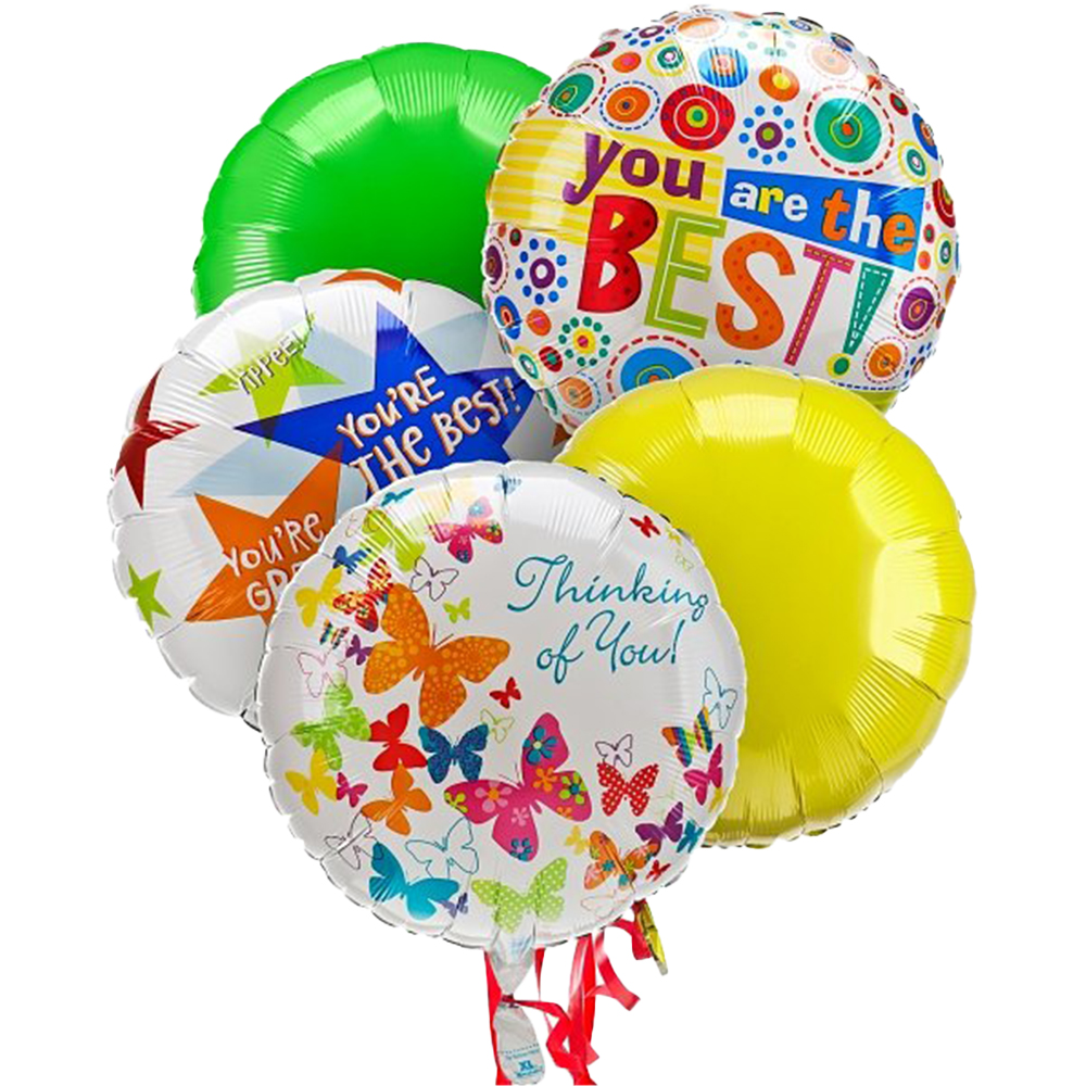 Beautiful Bouquet of 5 Mylar Balloons
