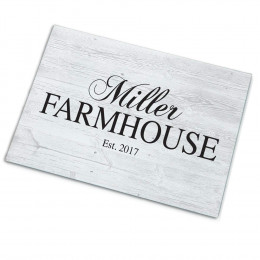 Modern Personalized Family Farmhouse Glass Cutting Board