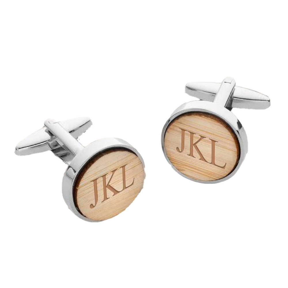 Personalized Bamboo Cufflinks for Men