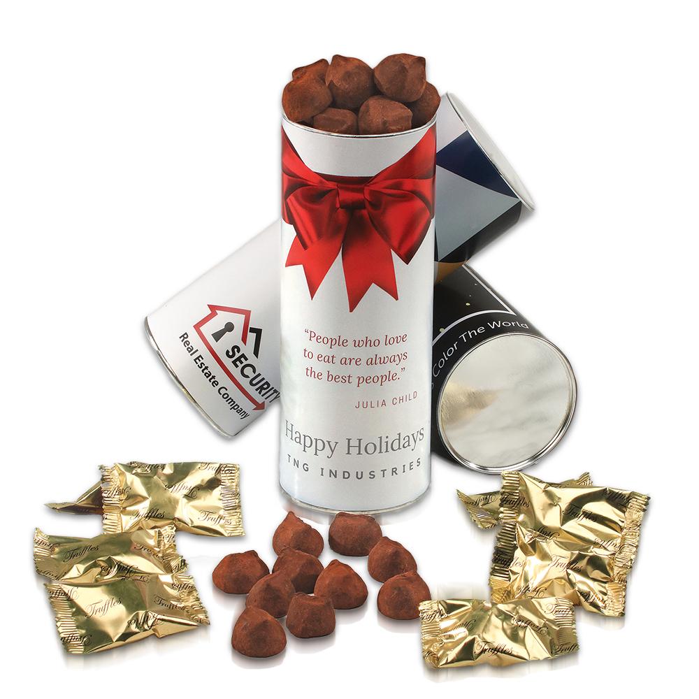 Custom Cocoa Dusted Truffles Cylinder