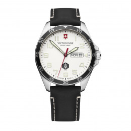 Custom Victorinox Swiss Army Fieldforce Black Leather Strap Watch