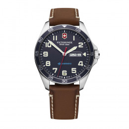 Custom Victorinox Swiss Army Fieldforce Blue Leather Strap Watch
