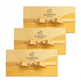 Godiva® Assorted Chocolate Gold Gift Box, Gold Ribbon, Set of 3, 8 pc. each