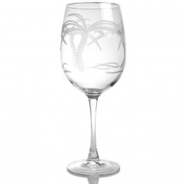 Rolf Glass Crystal 18oz Tropical Engraved Wine Glass (Set of 4)