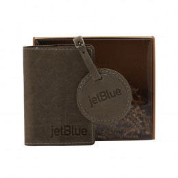 Custom Leather Passport Cover and Luggage Tag Set