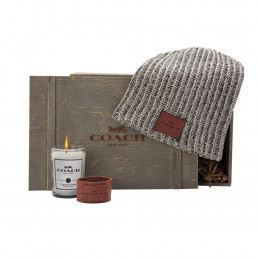 Custom Knit Beanie, Leather Bracelet and Candle Gift Set