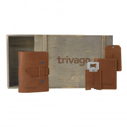 Custom Leather Journal, Passport Cover, Luggage Tag and Bottle Opener Travelers Gift Set