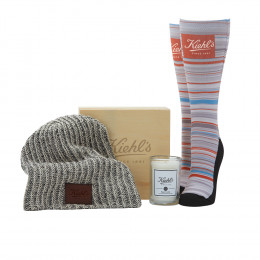 Custom Cozy Knitted Beanie, Socks and Candle Gift Set
