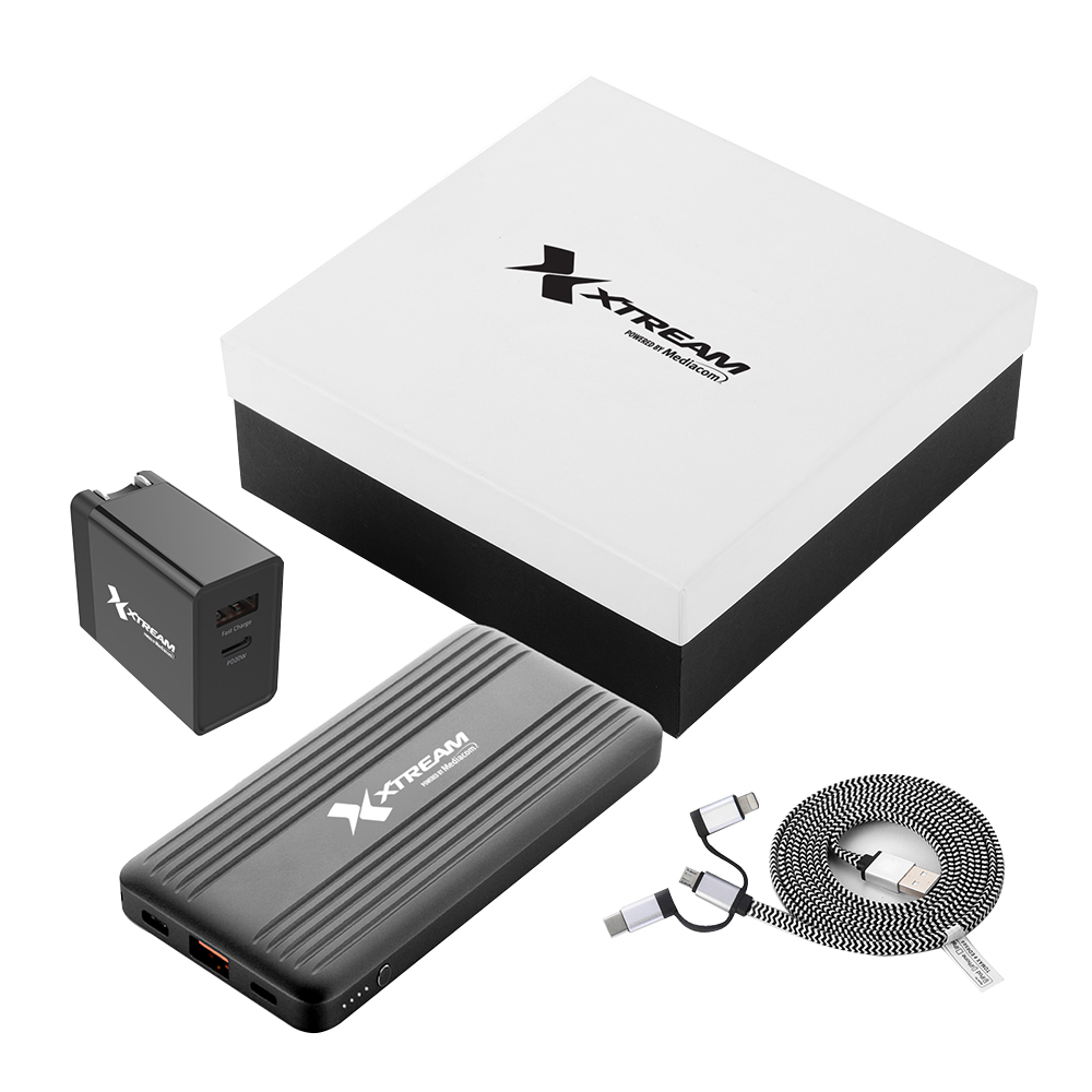 Custom Fast Charging Power Bank With 20W PD Adaptor, 3-in-1 Cable Gift Set