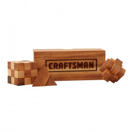 Custom Wooden Puzzle Trio with Box