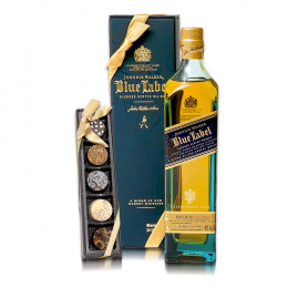 Johnnie Walker Blue 750ml Scotch and Chocolate Truffles Set with Gift Packaging