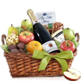 Organic Napa Cider, Fruit and Cheese Gift Basket