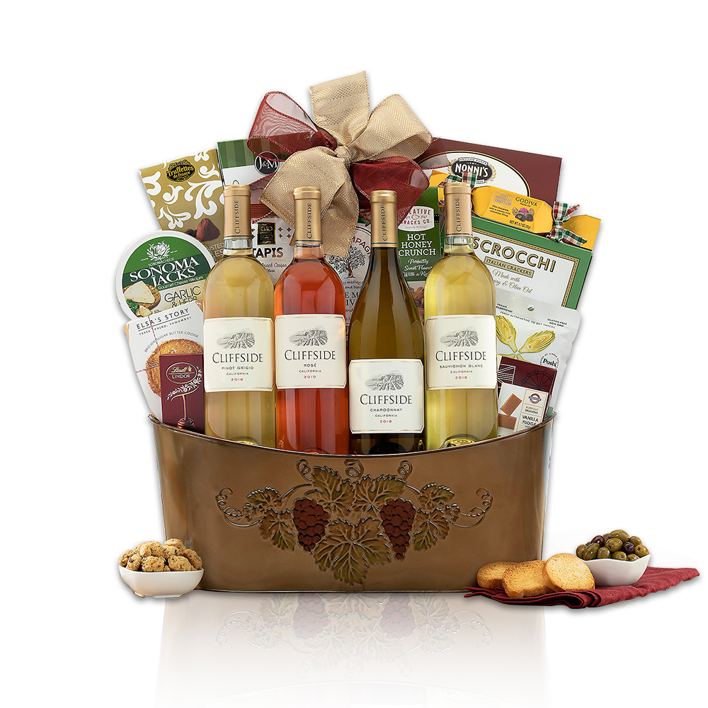 Cliffside Vineyards California Quartet Wine Basket