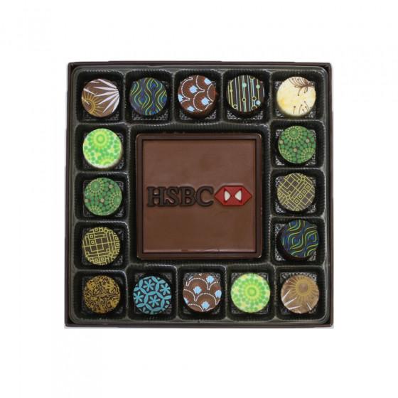 Custom Mold Chocolate Card w/Truffle Assortment - 17 Piece
