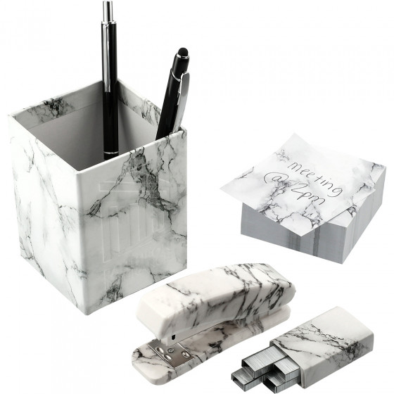 Custom 4 Piece Faux Marble Desktop Set