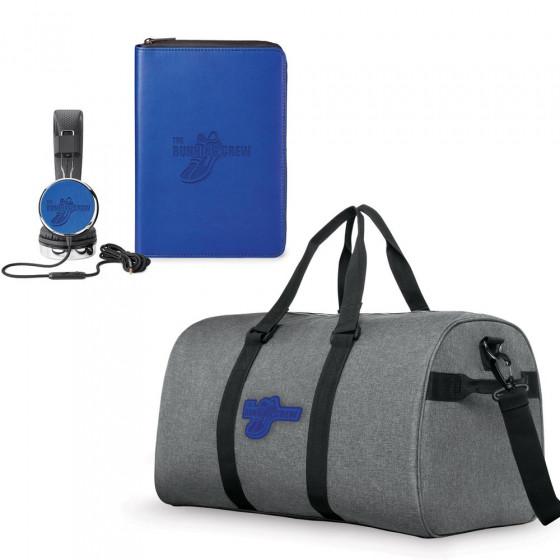 Custom Headphones, RFID Padfolio and Duffle Bag Set