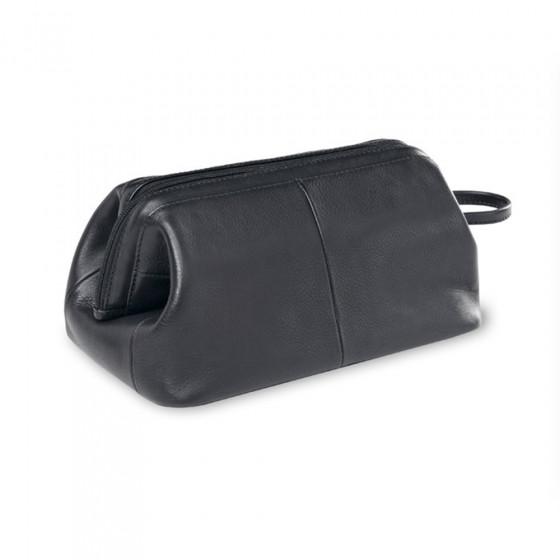 Custom Leather Framed Toiletry Case