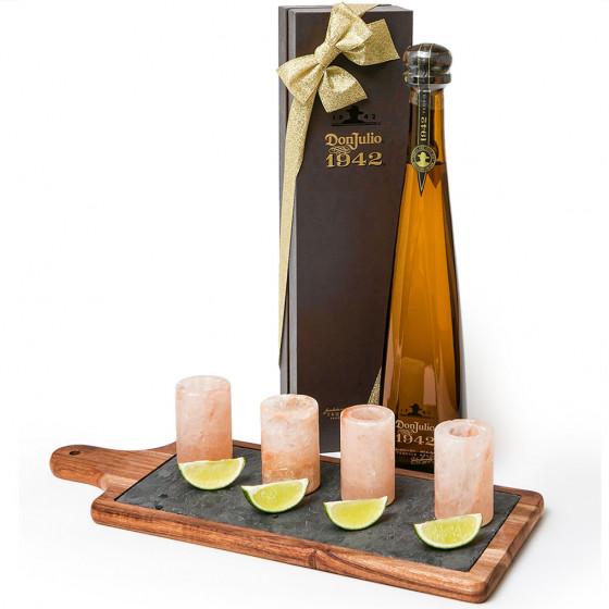 Don Julio 1942 Anejo Tequila Set with Pink Himalayan Salt Shot Glasses