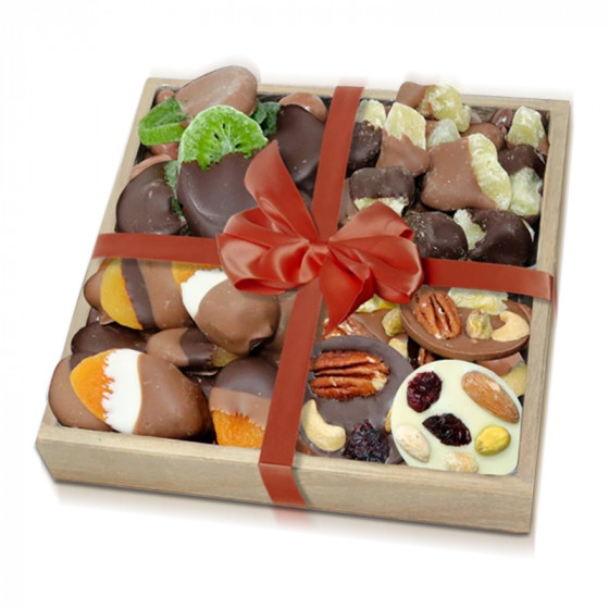 Premium Belgian Chocolate Dipped Dried Fruit & Mendiant Gift Tray