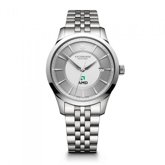 Custom Victorinox Swiss Army Alliance Silver Stainless Steel Watch