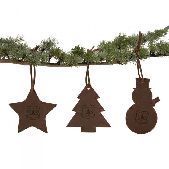Custom Leather Tree Ornament Trio