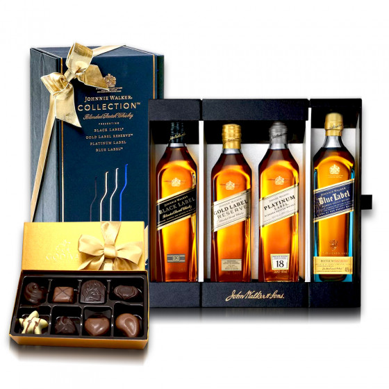 Johnnie Walker 200ml Bottle Minis 4-pack with Godiva Truffles Gift Collection