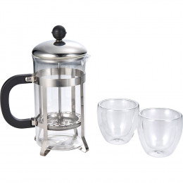 Custom Modena Coffee Press and Two Glasses Gift Set