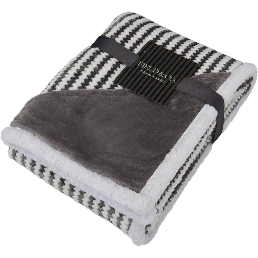 Custom Field & Co.® Chevron Striped Sherpa Blanket