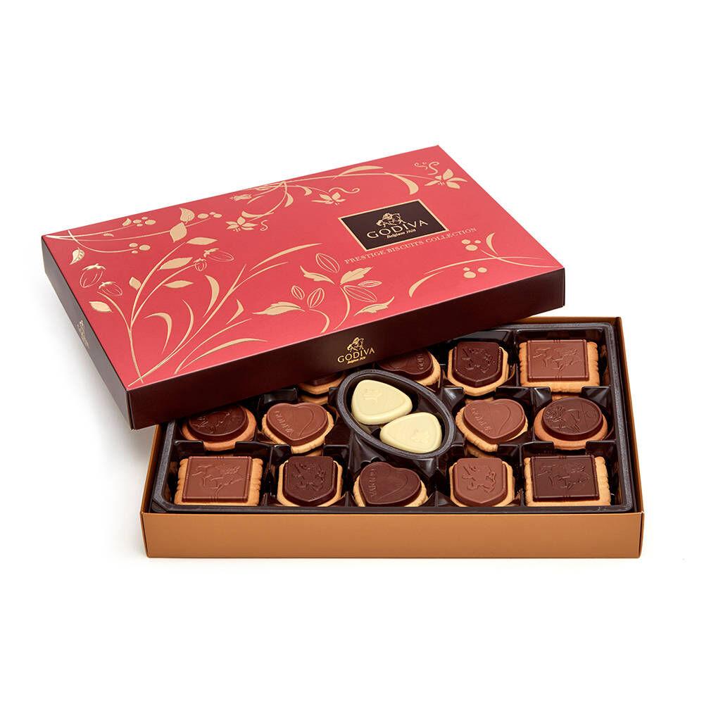 Godiva Dark Chocolate Hot Cocoa Tin & Chocolate Biscuit Gift Box 32 pc.