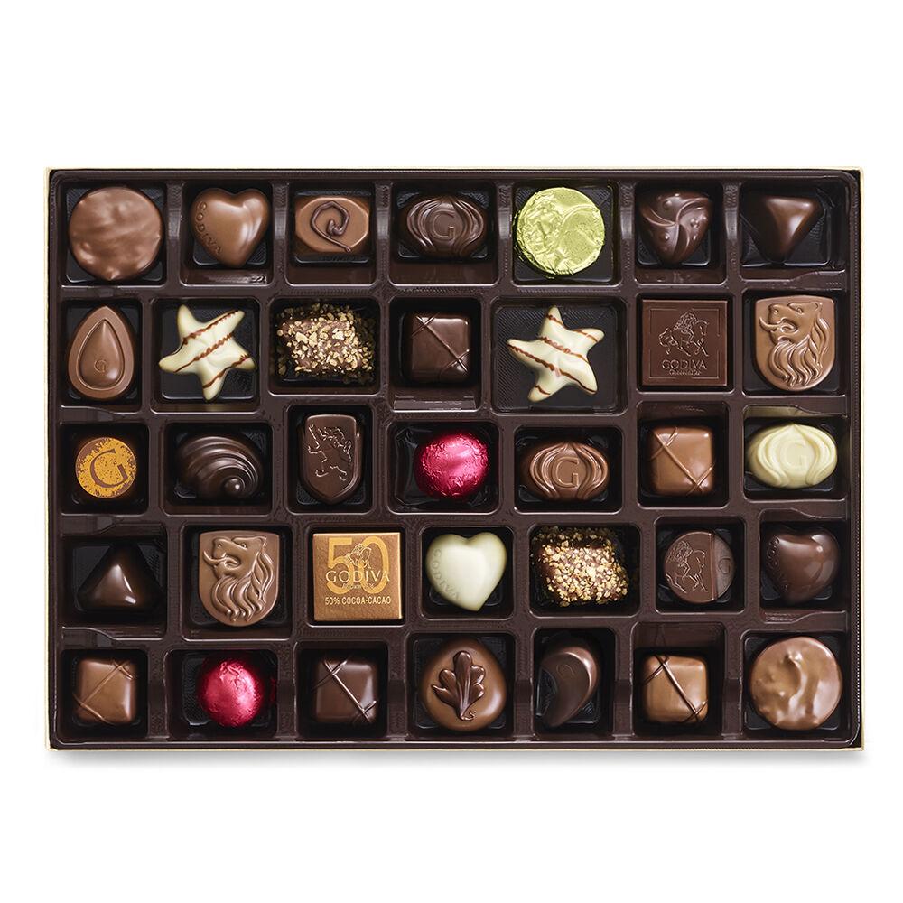 Godiva Assorted Chocolate Gold Gift Box Gold Ribbon 105 pc.