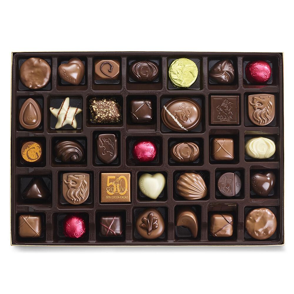 Godiva Assorted Chocolate Gold Gift Box Gold Ribbon 140 pc.