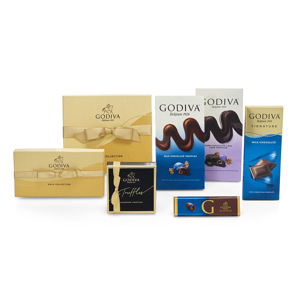 Godiva Chocolate Celebration Basket Striped Tie Ribbon