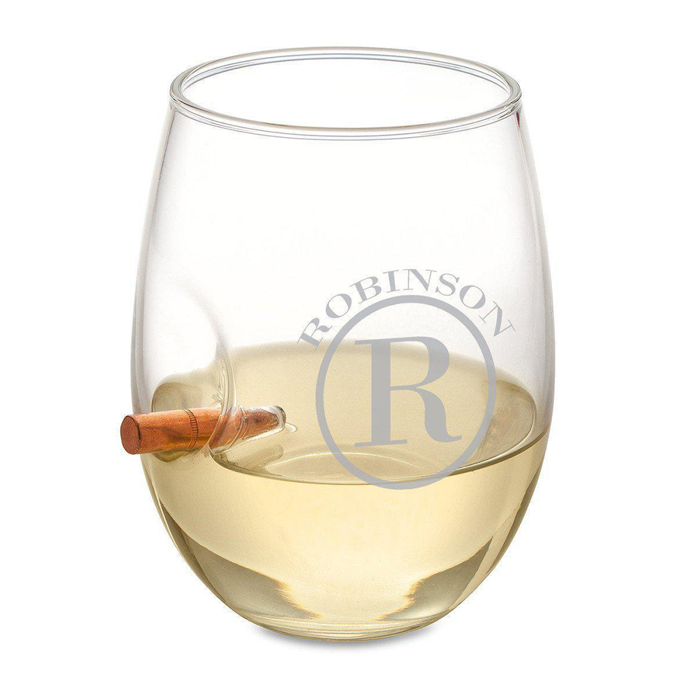 Personalized Bullet Wine Glass Stemless