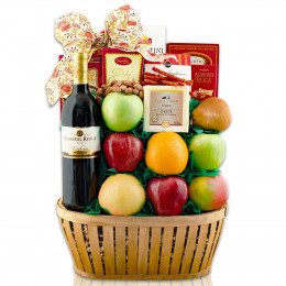 Talk Of The Town Fruit & Merlot Wine Gift Basket