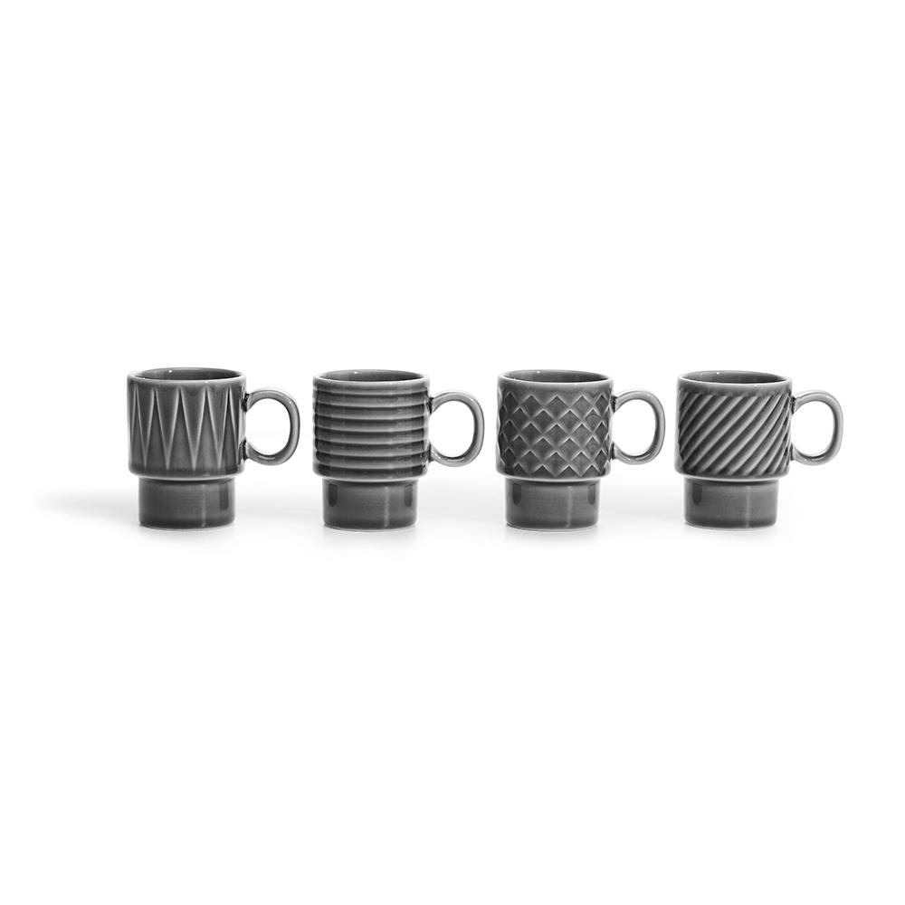 Grey Coffee & More Espresso Cup - 4pc