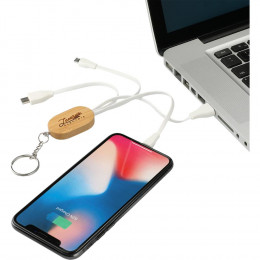 Custom Boundary Natural Bamboo 3-in-1 Charging Cable