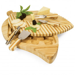 Custom Engrave Leaf Swivel-Style Cheese Board Set