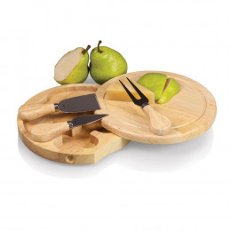 Custom Engrave Brie Circular Cutting Board with Cheese Tools