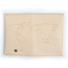 Personalized Globe Embossed Leather Travel Wallet